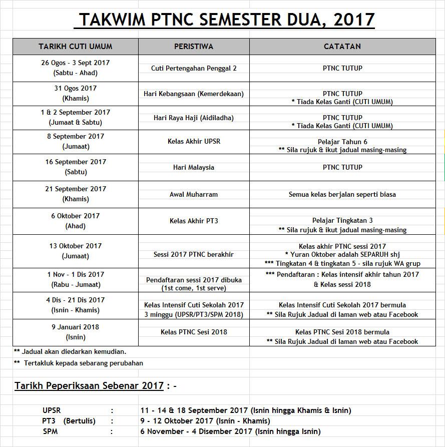 TAKWIM SEM2 2017