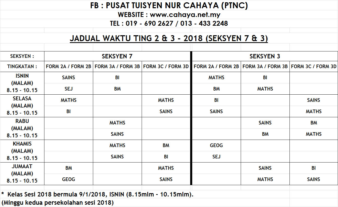 jadual fm2&3 2018