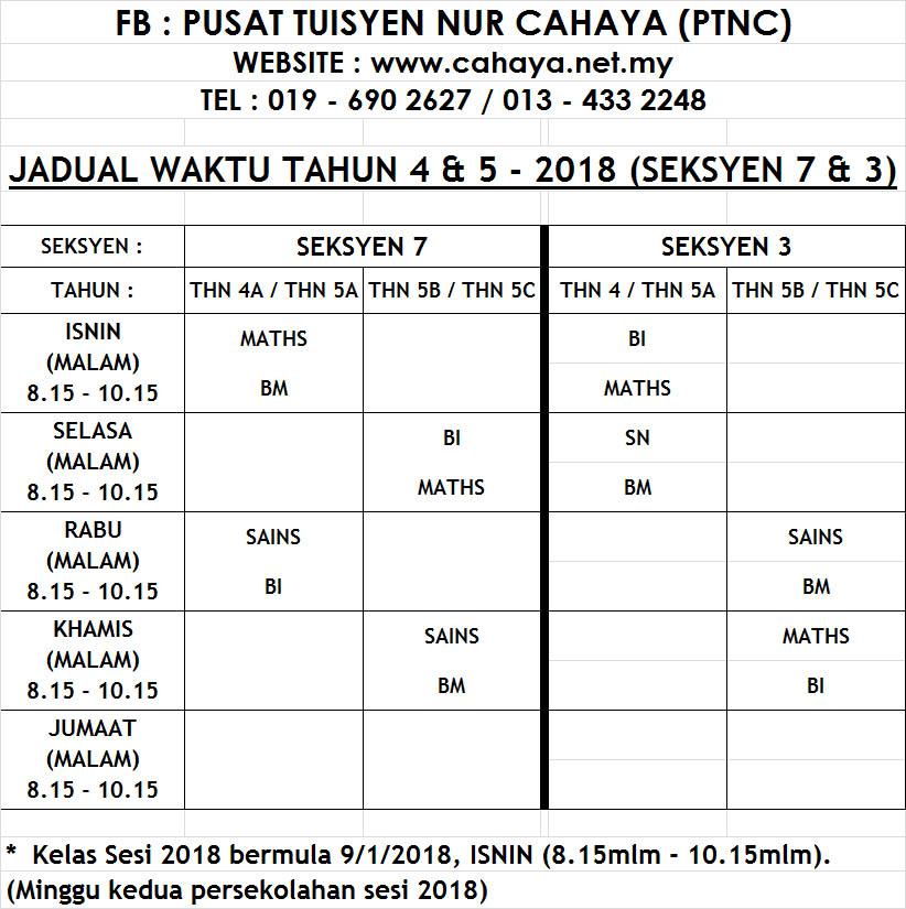 jadual yr4&5 2018