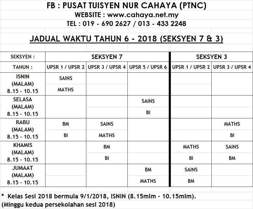 jadual yr6 2018